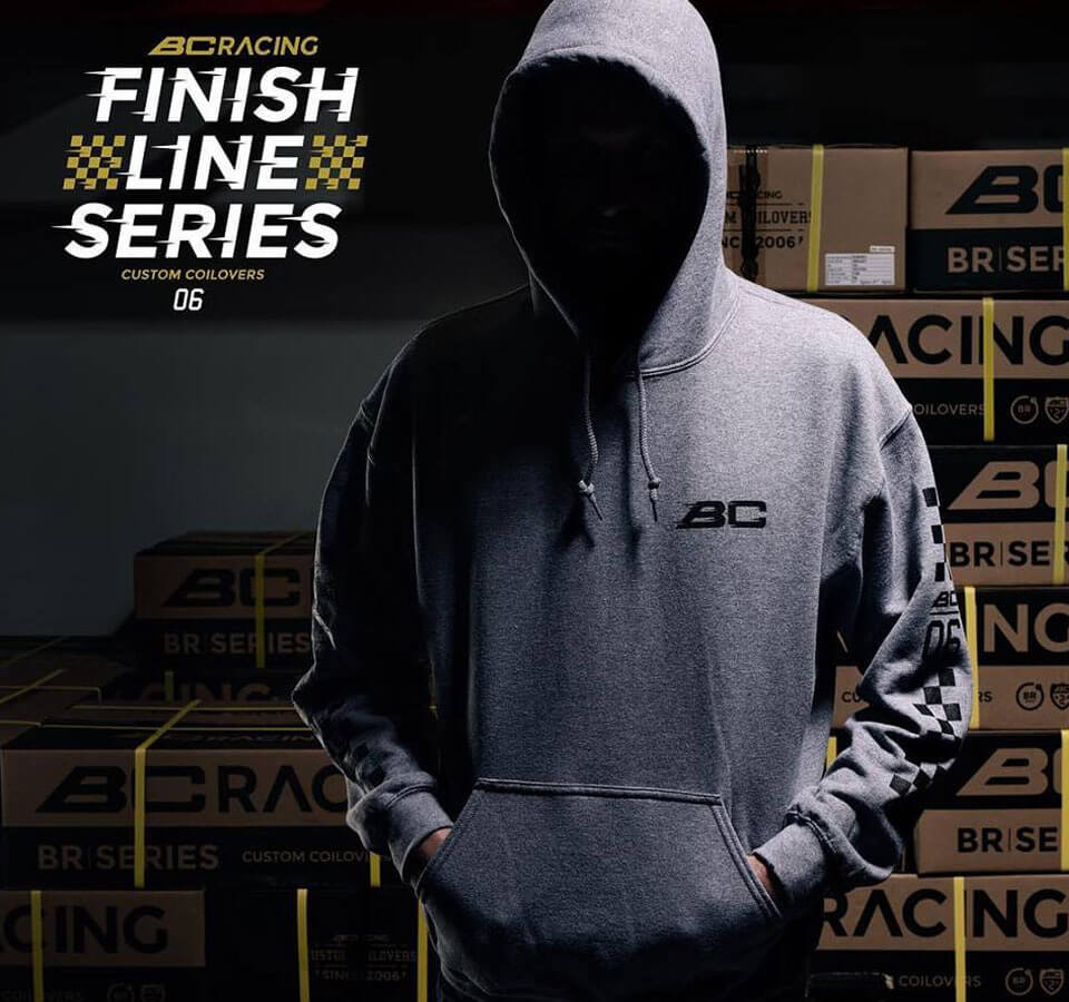 BC Racing Finish Line series hoodie, front