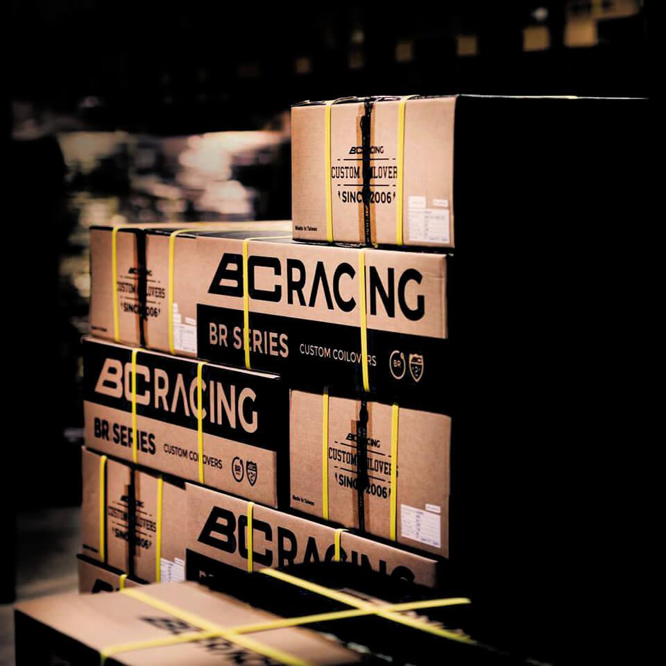 Warehouse full of BC Racing shipping boxes