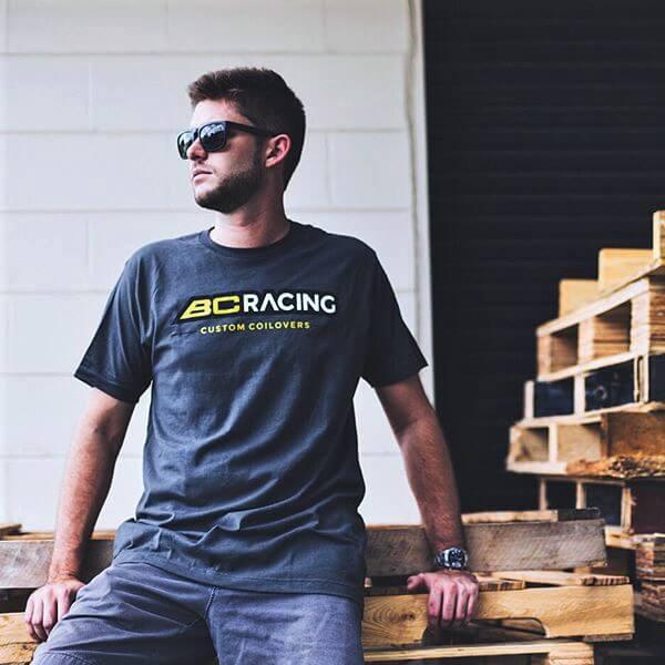 Man wearing BC Racing tee shirt