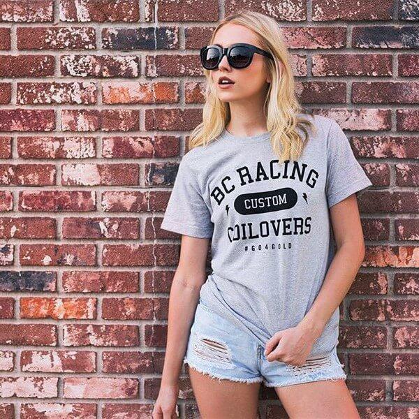 Woman wearing BC Racing tee shirt