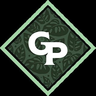Diamond-shaped Gabriella Plants monogram