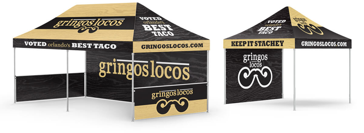 10x20 and 10x10 event stands with Gringos Locos branding