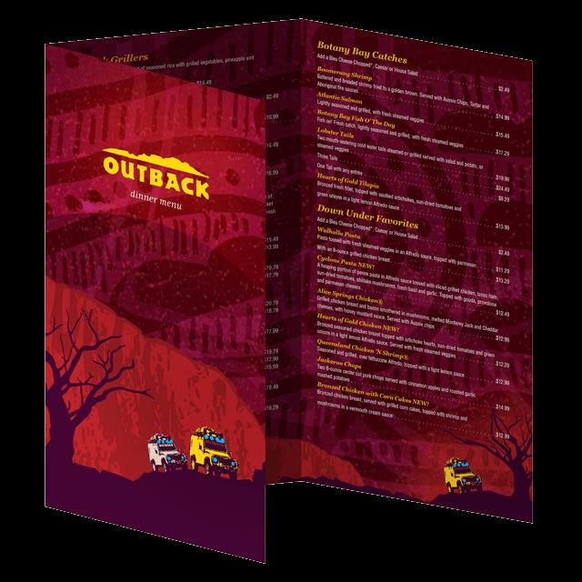 Outback Steakhouse menu design