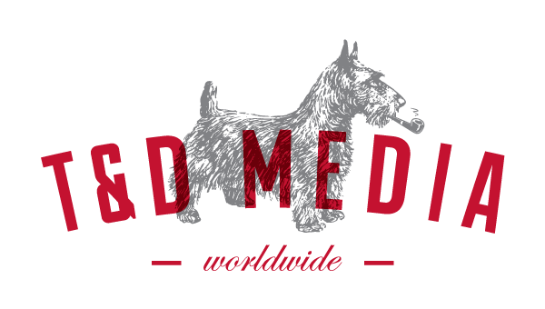 T&D Media logo, red text and a dog sketch