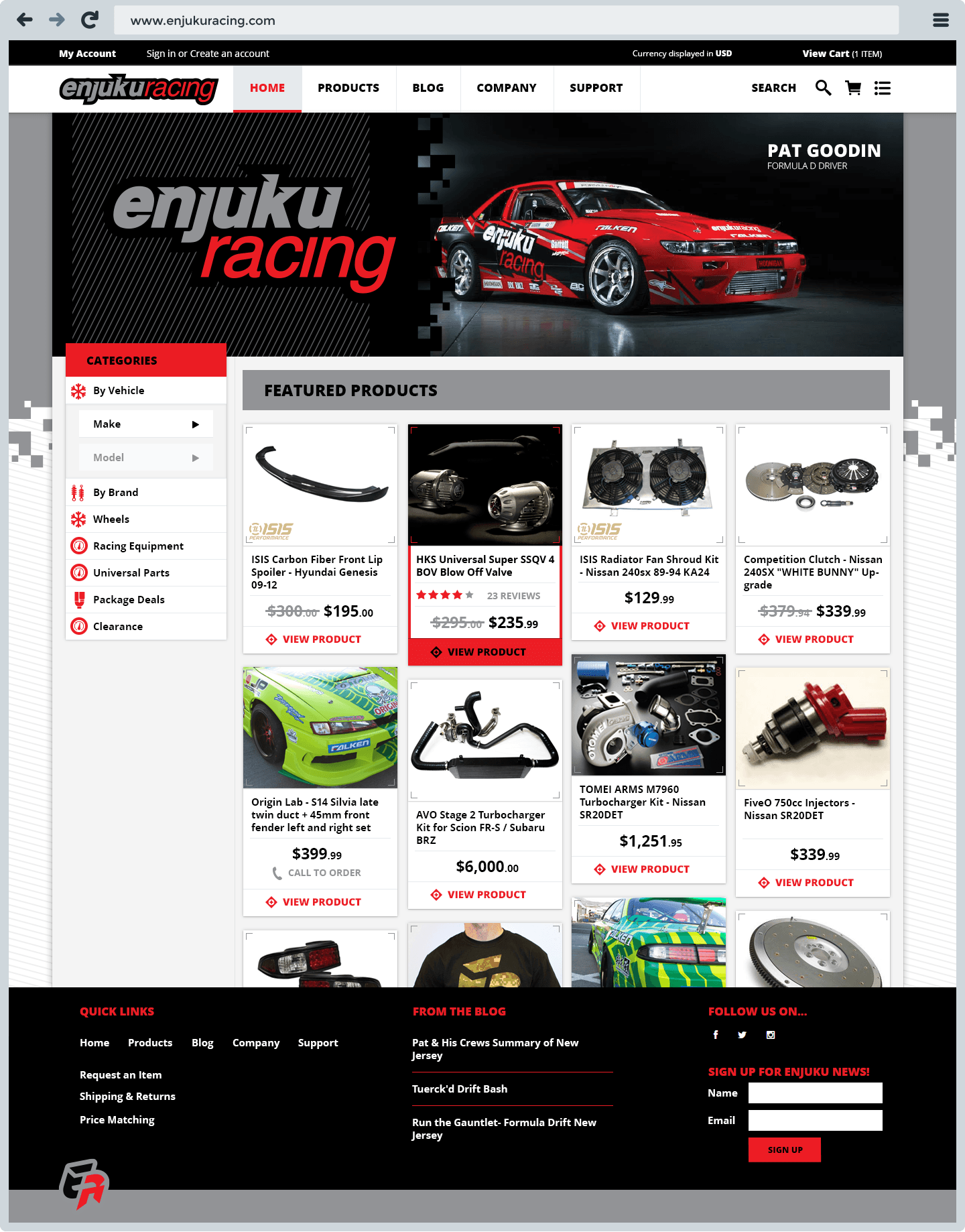 Enjuku Racing E-Commerce Website